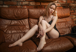 women, blonde, sitting, couch, bricks, wall, necklace, red lipstick, black lingerie, women indoors