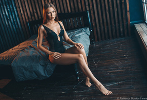 women, black lingerie, Alexandr Burdov, in bed, body lingerie, women indoor ...