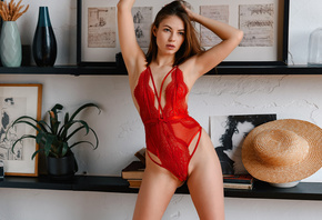 Viktoriia Aliko, women, red lingerie, women indoors, body lingerie, shelf, armpits, hat, plants, hips, cleavage, books, camera, arms up