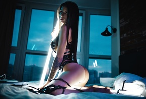 women, Artem SolovЬev, strategic covering, ass, kneeling, VHS, video tape, bricks, women indoors, black panties, straight hair, long hair, topless, in bed, pillow, lights