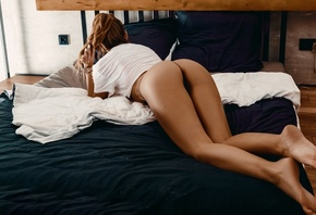 women, ponytail, ass, black panties, pillow, in bed, white nails, watch, white t-shirt, crop top, women indoors, brunette, arched back