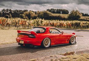 Mazda, RX-7, rear view, red, sports coupe, tuning