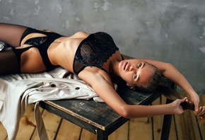 women, black lingerie, table, belly, ribs, armpits, wooden floor, women ind ...