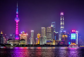 Shanghai, night city, Huangpu River, nightscapes, skyscrapers, China, Asia
