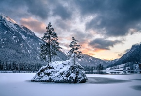 Зима, Озеро, Горы, Berchtesgaden, National Park, Hintersee Lake, Бавария, Д ...