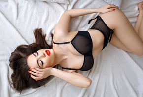 women, closed eyes, red lipstick, in bed, top view, eyeliner, garter belt, red nails, see-through lingerie, ass, black lingerie, women indoors