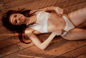women, top view, redhead, tattoo, belly, ribs, lying on back, wooden floor, underwear, white underwear, on the floor