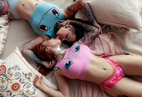 women, tongues, top view, belly, pierced navel, in bed, pillow, tattoo, eyeliner, redhead, closed eyes, nose ring, tank top, underwear, armpits, black hair, lying on back, two women