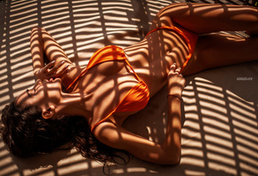 women, Evgenii Angelov, Evgeny Angelov, closed eyes, orange bikini, belly,  ...