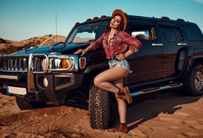 women, hat, women outdoors, sky, clouds, car, desert, plaid shirt, jean shorts, women with cars, shoes, socks, closed eyes, belt, red nails