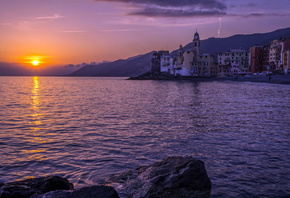 Camogli, Portofino, evening, sunset, Mediterranean Sea, summer, chapel, sea ...