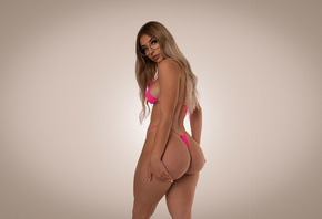 women, blonde, ass, pink bikinis, Studio, simple background, women with gla ...
