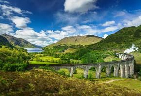 Шотландия, поезд, Горы, Небо, Мост, Пейзаж, Glenfinnan, Lochaber, steam train, Облака, Природа