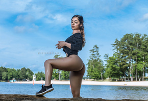 women, ass, sneakers, sky, clouds, women outdoors, trees, water, black pant ...