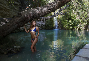 women, trees, belly, blue bikini, waterfall, nature, women outdoors, brunette