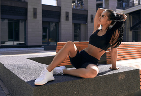 women, sportswear, brunette, exercise, women outdoors, black clothing, belly, pierced navel, sneakers, long hair, bench, ponytail, Black top, looking away