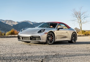 Porsche 911 Carrera S, convertible, silver sports coupe, new silver 911 Car ...