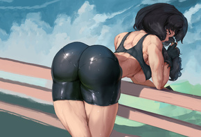 dragon ball, videl, anime, sexy, short, tights, brunette, top, cute
