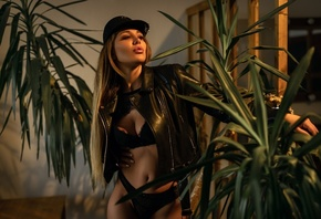 women, black lingerie, belly, plants, brunette, women indoors, blonde, long hair, black jackets, leather jackets, fake lips