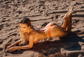 women, Zhenya Stopa, orange bikini, sand covered, sand, women outdoors, blonde, feet in the air, sideboob, ass