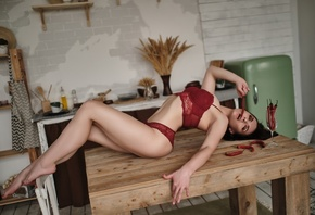 women, table, closed eyes, kitchen, arched back, red lingerie, brunette, women indoors, chair, belly, drinking glass, red chili, chilli peppers, wooden floor, fridge