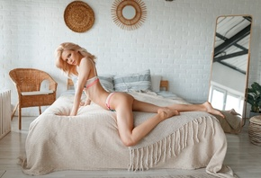 women, ass, in bed, blonde, skinny, ribs, mirror, reflection, white lingerie, pillow, wall, bricks, women indoors, arched back, brunette, plants, chair