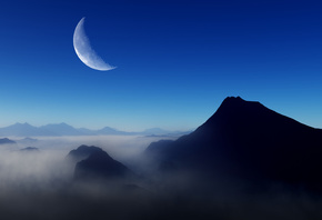 Blue, Morning, Moon, Nature