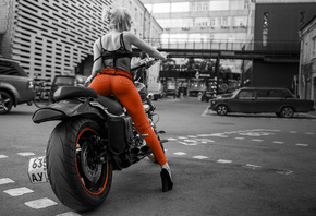 motorcycle, girl, model, blonde, city, road, ass, jeans, high heels, legs,  ...