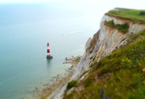 Побережье, Маяк, Англия, English Channel, East Sussex, , Beachy, Head Lighthouse, Скала, Природа