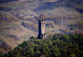 Шотландия, Горы, Wallace, Monument, Stirling, Stirling, Деревья, Башня, Природа