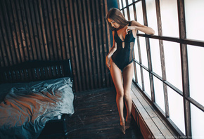 women, Alexandr Burdov, body lingerie, bed, wooden floor, window, brunette, black lingerie, the gap, straight hair, women indoors