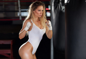 blonde, girl, model, cute, sexy, beautiful, hot, pretty, leotard, bed, window, boobs, model, boxing
