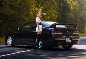nissan skyline, r34, girl, women, city, black car, blonde, street