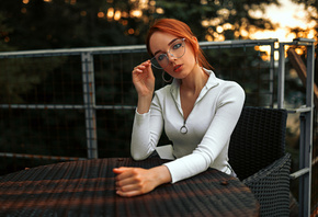 women, redhead, chair, table, women outdoors, hoop earrings, sitting, portrait, women with glasses, glasses