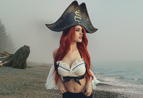 miss fortune, girl, redhead, sexy, beach, beautiful, cute, perfect, women, woman