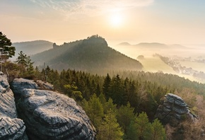 Германия, Парк, Saxon, Switzerland, national Park, Скала, Туман, Природа