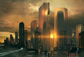 Futuristic Cityscape, Skyscrapers, Sunset