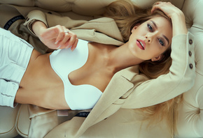 women, top view, white bra, couch, white jeans, belly, brunette, coats