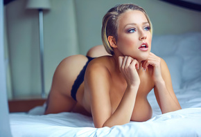 blonde, cute, girl, bed, sexy, pretty, model, window, thong, sun, boobs, ho ...