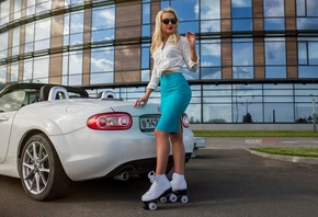 women, blonde, blue skirt, white shirt, women outdoors, Kirill Zakirov, car, sunglasses, red lipstick, building, women with cars, pink nails, roller skates, reflection