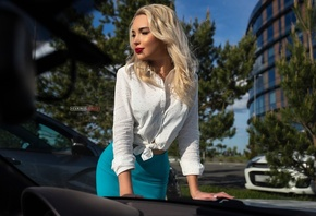 women, blonde, blue skirt, white shirt, women outdoors, Kirill Zakirov, red lipstick, car, trees, women with cars, pink nails, building, brunette