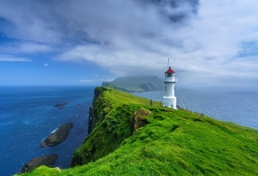 острова, океан, маяк, Faroe Islands, Mykines, Holmur Lighthouse