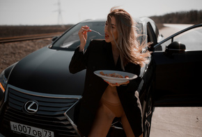 women, Alexander Belavin, red nails, coats, fork, panties, car, women outdoors, open mouth, food, women with cars, belly, brunette