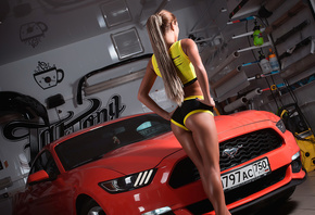 mustang, girl, shorts, ass, blonde, brunette, cute, beautiful, model, perfe ...