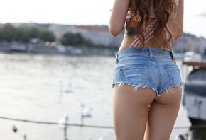 brunette, cute, sexy, women, jeans, shorts, pretty, beach, legs, perfect, w ...
