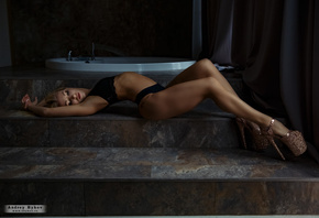 women, blonde, brunette, stairs, women indoors, black lingerie, Andrey Byko ...