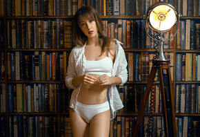 women, white panties, white tops, white shirt, belly, books, white clothing, women indoors, tripod, lamp, red lipstick