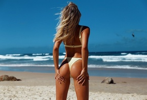beautiful, women, cut, blonde, pretty, sexy, model, perfect, hot, ass, bikini, woman, sun, beach, clouds, cute, air, sand