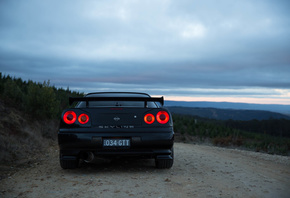 nissan skyline, R34, road, car, black car, nature