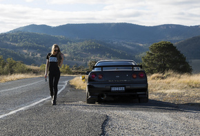 nissan skyline, R34, road, car, black car, nature, girl, blonde